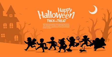 Children in Halloween fancy dress to go Trick or Treating.Template for advertising brochure. Happy Halloween.
