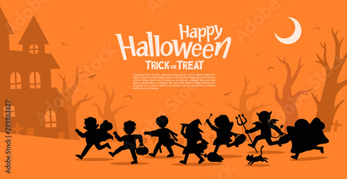 Children in Halloween fancy dress to go Trick or Treating Canvas