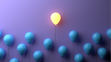 Stand out concept with glowing balloons