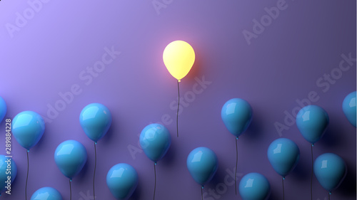 Stand out concept with glowing balloons Wallpaper Mural