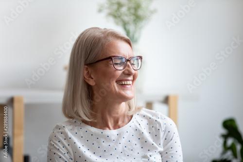 Fotografie, Obraz  Close up happy beautiful mature woman laughing at funny joke