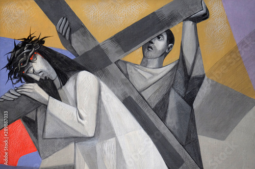 Canvas Print 5th Stations of the Cross, Simon of Cyrene carries the cross, Church of the Holy