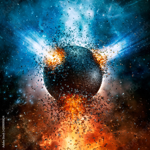 Photo Near orbit incident / 3D illustration of exploding artificial moon space station