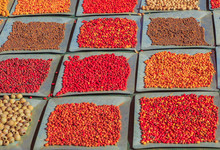 Background With Different And Colorful Bush Seeds. Australia Bush Food Eaten By Australian Aborigines. Northern Territory.