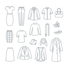Business Woman Basic Clothes And Shoes Set. Vector Flat Thin Line Icons. Office Formal Dress Code Outfit. Simple Outline Pictograms Of Dress, Skirt, Jacket, Coat, Trousers, Shirt, Bag, Boots.