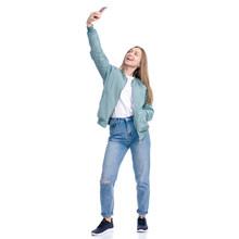 Woman In Jeans Coat Jacket Cas...