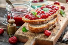 Closeup Of Homemade Sandwich With Jam Made Of Cherries
