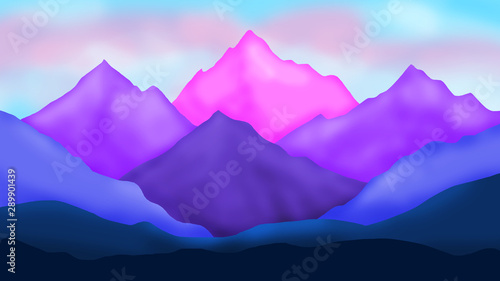 Foto auf AluDibond Flieder Colorful mountains landscape digital background. Design for cards, paper, covers, posters, flyers, fabric and websites. Travel background. Goal achievement concept.