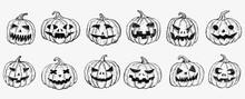 Halloween Pumpkin Set. Hand Drawn Illustration.