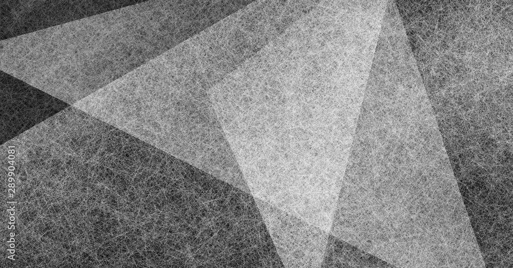 Fototapety, obrazy: black and white abstract background with angled triangle shapes layered in abstract modern art style background pattern, textured background