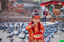 Little Girl Dressed As Kumari ...