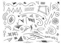 Hand Drawing Mixed Shapes. Various Geometric Drawings. Vector Doodles