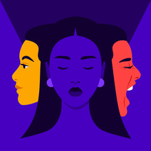 Mood Swings. Bipolar Disorder. Joy And Aggression. Scream And Smile. Female Face In Profile. Vector Flat Illustration