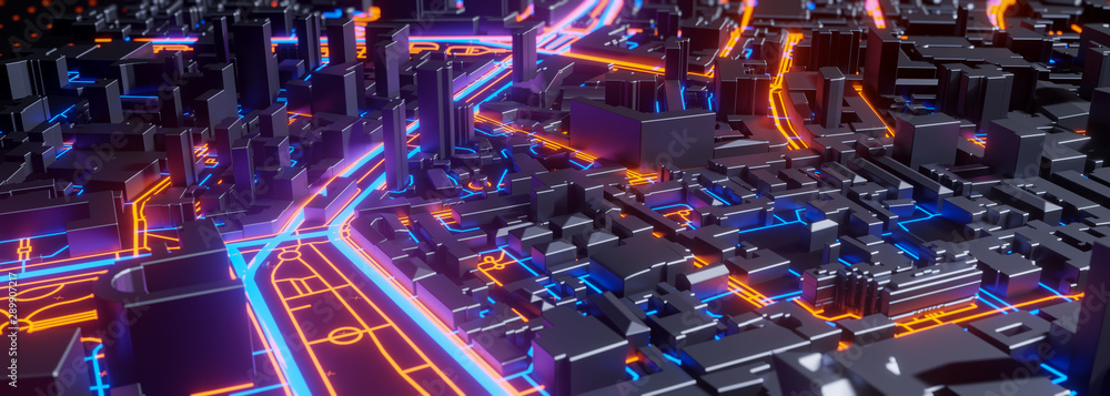 Fototapety, obrazy: Abstract 3d render of techno panorama landscape city. Urban and futuristic visual technology concepts
