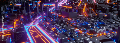 Obraz Abstract 3d render of techno panorama landscape city. Urban and futuristic visual technology concepts - fototapety do salonu