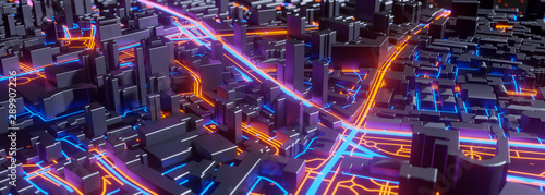 Foto auf AluDibond Aubergine lila Abstract 3d render of techno panorama landscape city. Urban and futuristic visual technology concepts