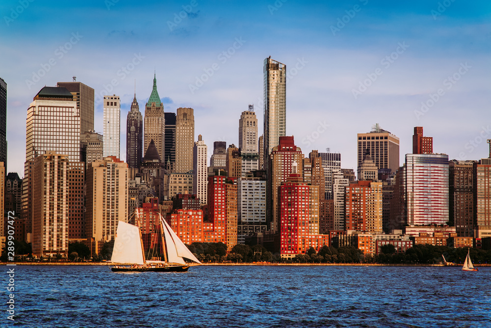Fototapety, obrazy: Lower Manhattan panorama and Hudson River taken from Yersey City during sunset, New York City
