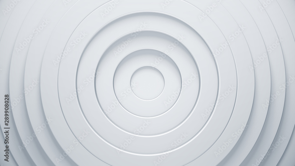 Fototapety, obrazy: Clean and simple 3d render illustration. Abstract rings background for business presentation. Radial bright pattern concept. Modern surface texture.