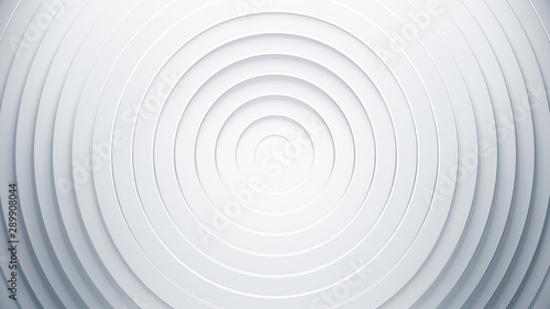 White geometric background concept. 3d circles illustration. Abstract creative texture for business template. Modern and simple radial pattern. - 289908044