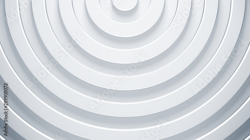 Photo sur Toile Spirale 3d rings render illustration. Modern surface concept. Simple and abstract background for business template. Bright radial texture in corporate style.