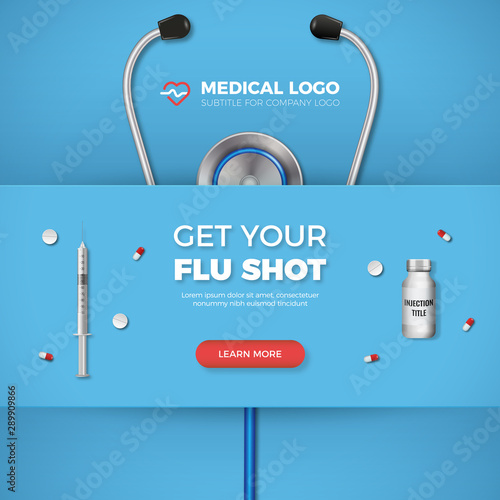 Fotomural  Get Your Flu shot healthcare banner with syringe, logo and flat icons on blue background