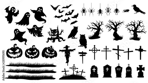Obraz Collection of halloween silhouettes. Vector set of halloween icon. - fototapety do salonu