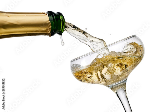 Fototapeta  Champagne pouring in a old fashion glass, close up