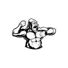 Angry Gorilla Head,Black And White Illustration Of Gorilla Bodybuilder.