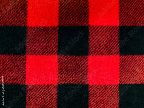 Keuken foto achterwand Buffel red and black lumberjack plaid pattern on fleece fabric
