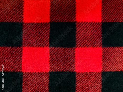 Foto op Aluminium Buffel red and black lumberjack plaid pattern on fleece fabric