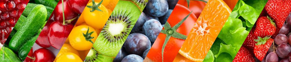 Obraz Fruits and vegetables. Background of fresh food fototapeta, plakat