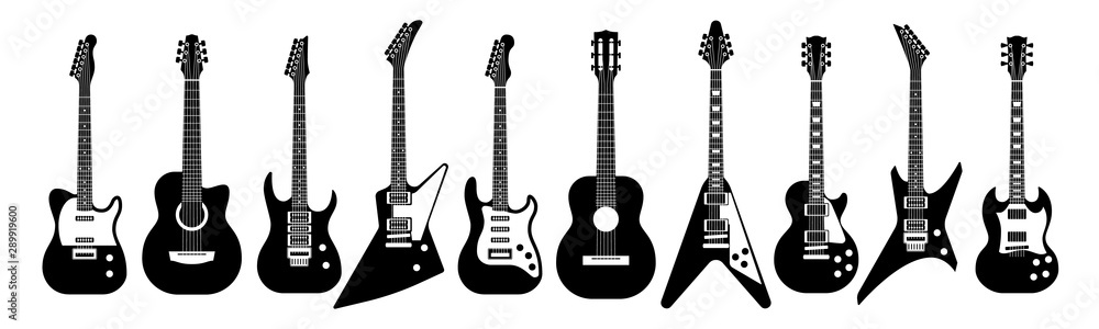 Fototapeta Black and white guitars. Acoustic and electric guitar outline musical instruments Vector isolated set