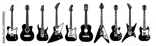 Black and white guitars. Acoustic and electric guitar outline musical instruments Vector isolated set - 289919600