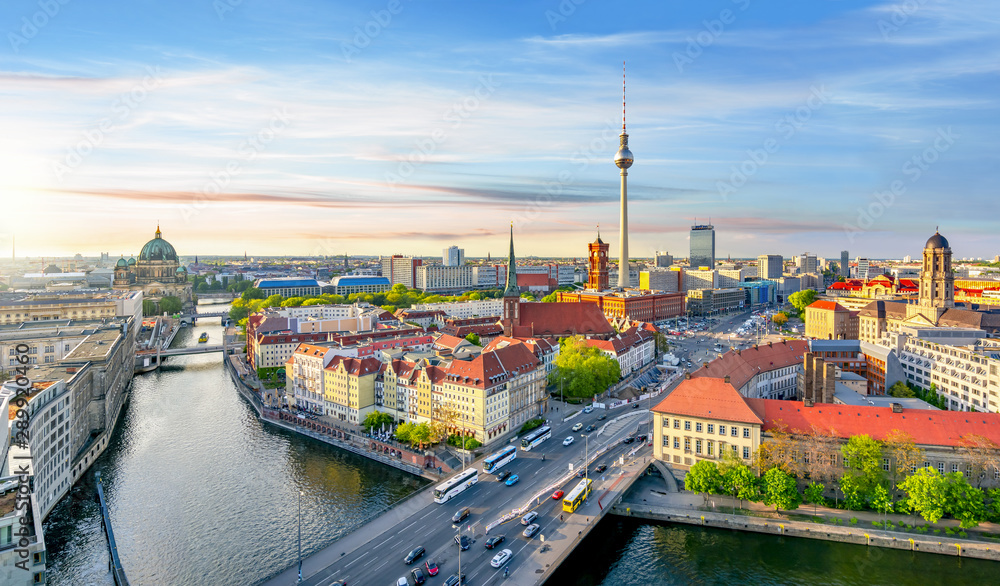 Fototapeta Berlin panorama with Berlin cathedral, Spree river, Town Hall and Television tower, Germany
