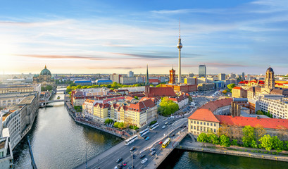 FototapetaBerlin panorama with Berlin cathedral, Spree river, Town Hall and Television tower, Germany