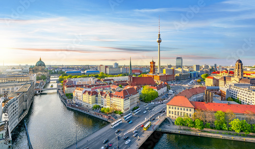 Berlin panorama with Berlin cathedral, Spree river, Town Hall and Television tow Canvas Print