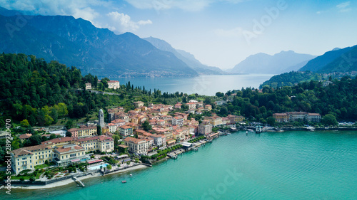 Fototapety, obrazy: Aerial photo shooting with drone on Bellagio, famous Lombardia city on the Como Lario Lake