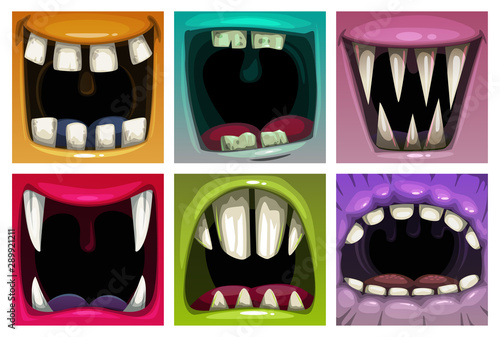 Canvas Print Creppy fantasy monsters mouth set. Vector scary jaws collection.