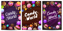 Candy World Posters Set. Sweets Background Templates.