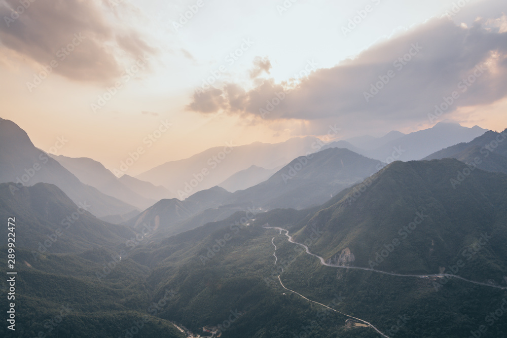 Fototapety, obrazy: Sunset over the mountains of Tram Ton pass, Fansipan peak in Sapa, Vietnam