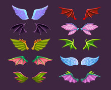 Different Cartoon Animal Wings Set. Angel, Devil, Dragon, Bat, Butterfly Wing Icons.
