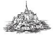 Rysynek ręcznie rysowany. Widok na Mont Saint-Michel