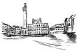 Rysynek ręcznie rysowany. Widok na centrum w Sienie we Włoszech