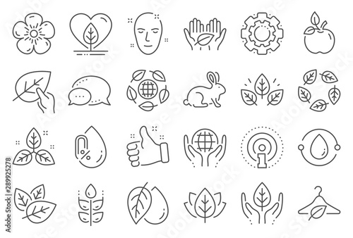 Fototapety, obrazy: Organic cosmetics line icons. No alcohol free, synthetic fragrance. Slow fashion, sustainable textiles icons. Fair trade, eco organic cosmetics. Gluten free, animal testing. Line signs set. Vector