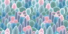 Abstract Seamless Pattern With Winter Forest. Vector Background