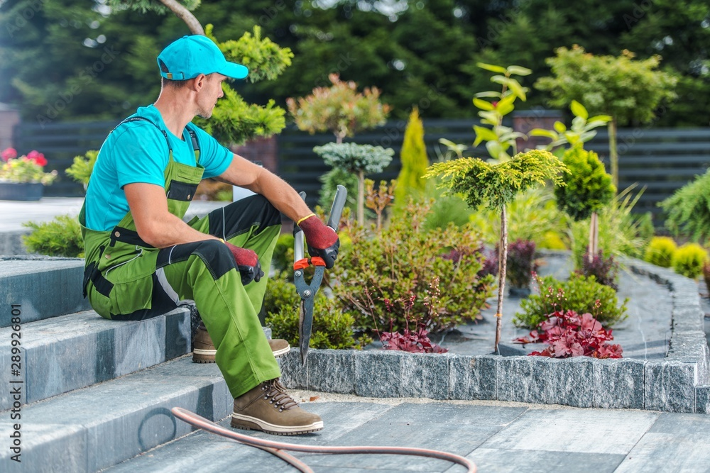 Leinwandbild Motiv - Tomasz Zajda : Gardener and His Garden