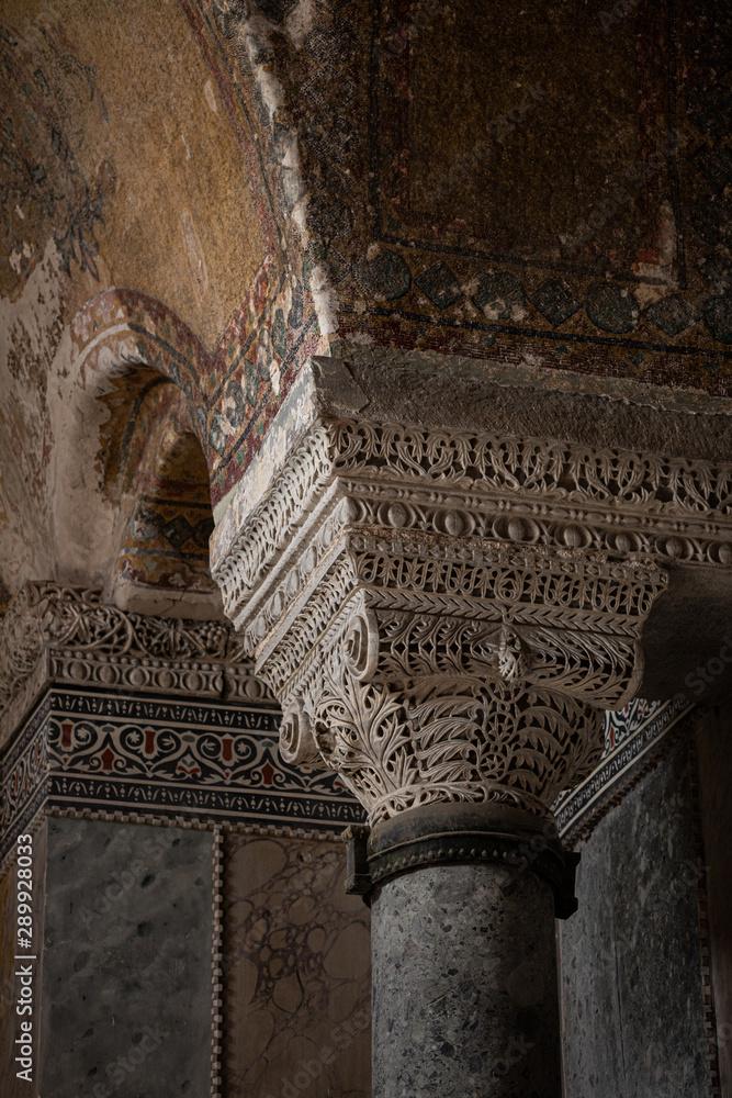 Fototapety, obrazy: Istanbul, Turkey- August 6 2019: Ayasofya. Sultan Ahmet Mahallesi, Ayasofya Meydani. ornament, pattern, details elements of architecture light beam