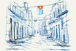 Rysynek ręcznie rysowany. Widok starej uliczki w Hawanie na Kubie