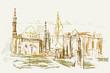 Rysynek ręcznie rysowany. Historyczna dzielnica w Kairze w Egipcie w wersji kolorowej