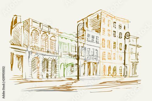 Fototapeta Rysynek ręcznie rysowany. Widok starej uliczki w Hawanie na Kubie obraz